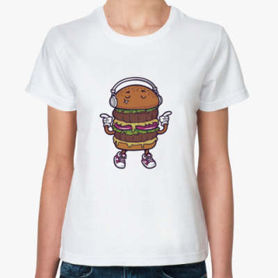 Классическая футболка Двойной музыкальный бургер
