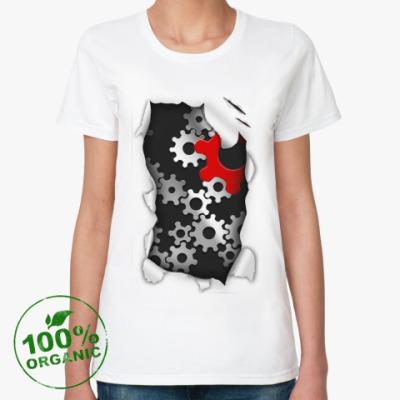Женская футболка из органик-хлопка 'Шестерни'