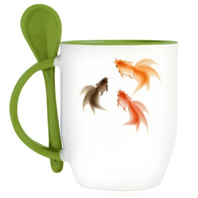 Кружка с ложкой Рыбки
