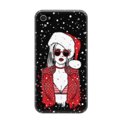 Чехол для iPhone 4/4s Снегурочка хипстер