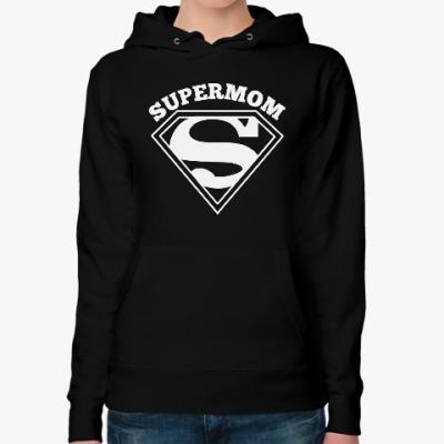 Женская толстовка худи Супермама (Supermom)