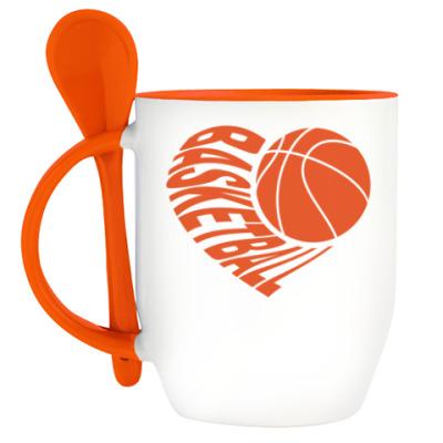 Кружка с ложкой Баскетбол в сердце
