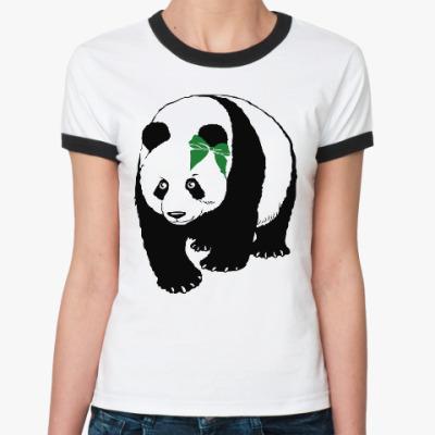 Женская футболка Ringer-T Панда с бантом ('Слабая' половинка пары)