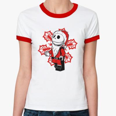 Женская футболка Ringer-T Санта скелет