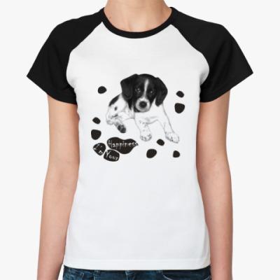Женская футболка реглан Милый пёсик