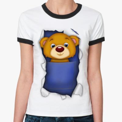 Женская футболка Ringer-T Медведь