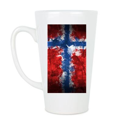 Чашка Латте 'Норвежский флаг'