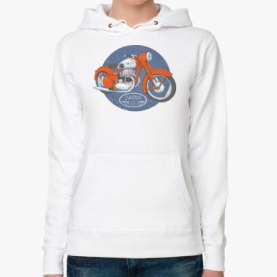 Женская толстовка худи Ретро Мотоцикл ЯВА