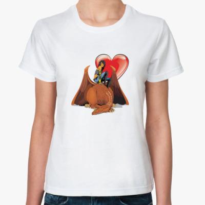 Классическая футболка Девушка и дракон