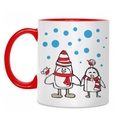 Кружка Пингвины и снегири в Новый год