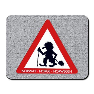 Коврик для мыши Осторожно, норвежские Тролли!