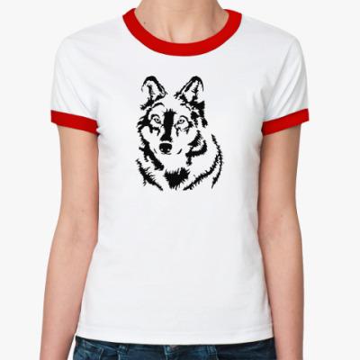 Женская футболка Ringer-T Белый волк