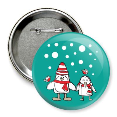 Значок 75мм Пингвины и снегири в Новый год