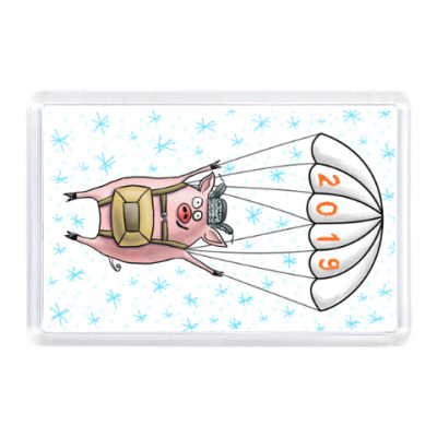 Магнит Новогодний свин-парашютист