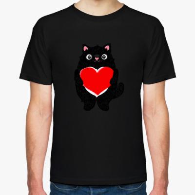 Футболка Кот и большое сердце