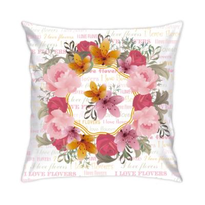 Подушка Я люблю цветы