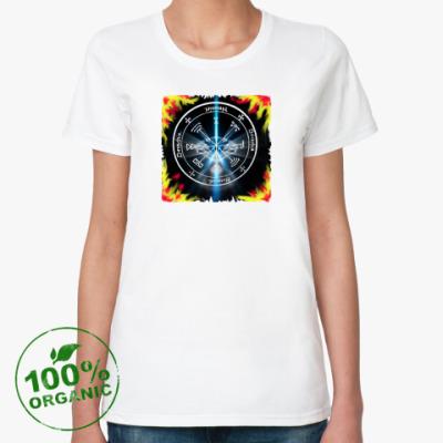 Женская футболка из органик-хлопка Пентакль обладания сокровищами