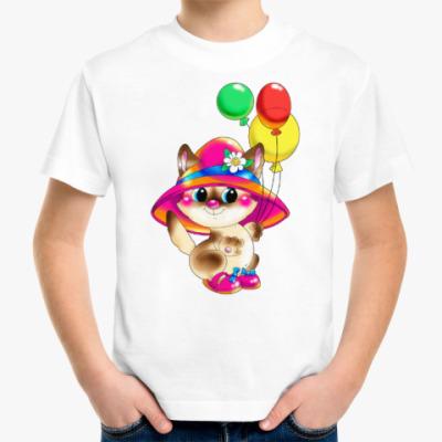 Детская футболка КИСКА В ШЛЯПЕ