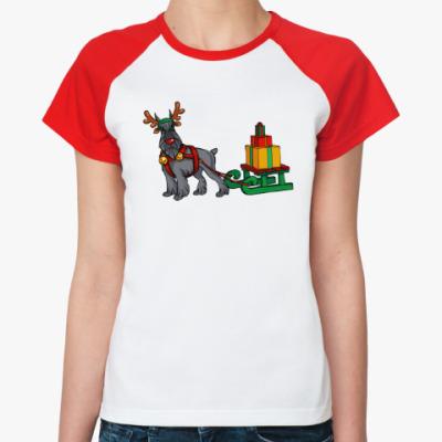 Женская футболка реглан Новогодний Шнауцер