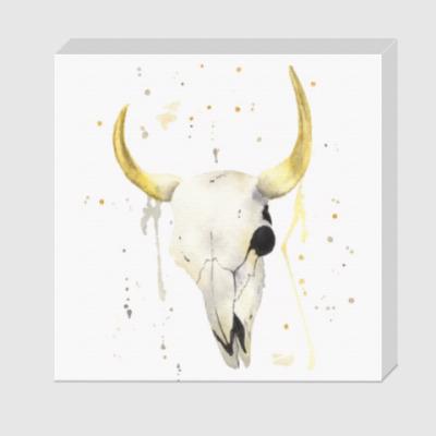 Холст Декоративный череп коровы