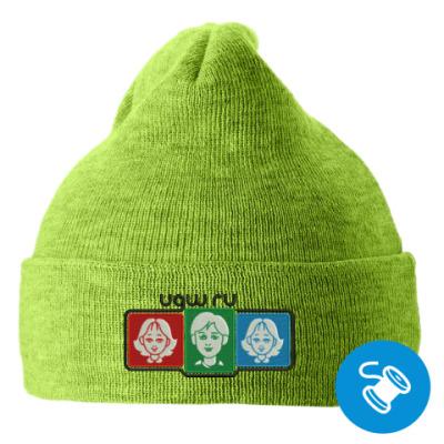 Вязаная шапка с подворотом, зеленая (вышивка) Вязаная шапка с подворотом, красная (вышивка)