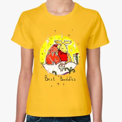 Женская футболка Лось и морж