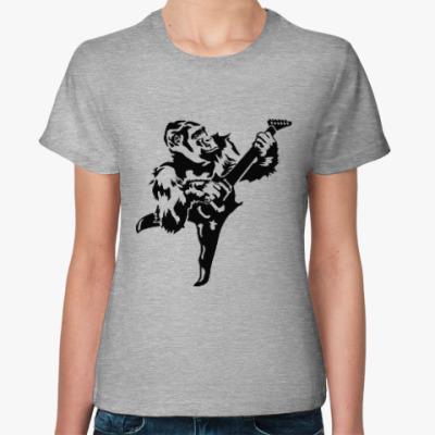 Женская футболка Горилла с гитарой