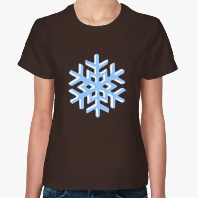 Женская футболка Объемная снежинка
