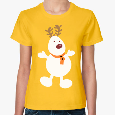 Женская футболка Олень - снеговик