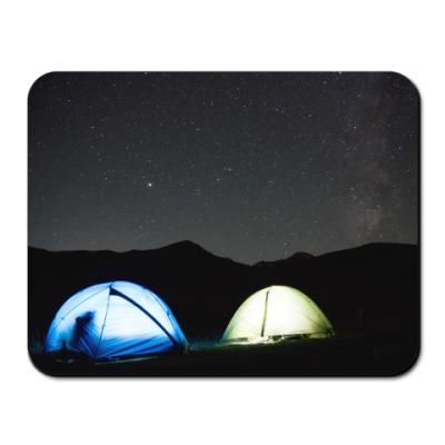 Коврик для мыши Палатки ночью в горах