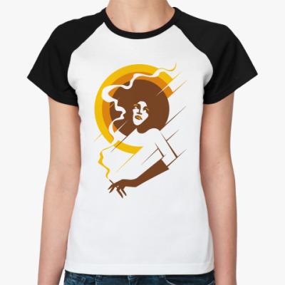 Женская футболка реглан Ретро леди