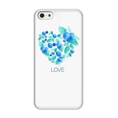 Чехол для iPhone 5/5s Акварель сердце из голубики