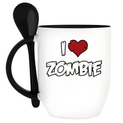 Кружка с ложкой Я люблю зомби
