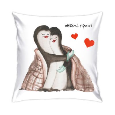 Подушка Влюблённые пингвины