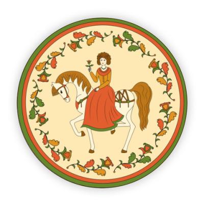 Костер (подставка под кружку) Russian folk ornament. Girl and horse