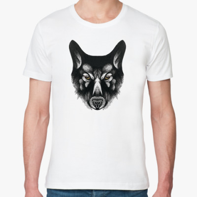 Футболка из органик-хлопка Черный волк злой взгляд