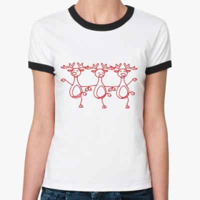 Женская футболка Ringer-T Танец оленей