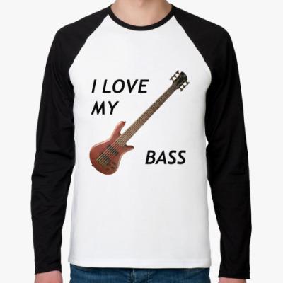 Футболка реглан с длинным рукавом i love my bass