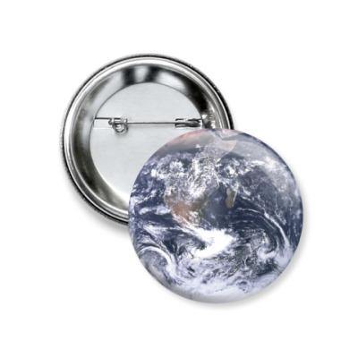 Значок 37мм Планета Земля