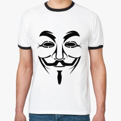 Футболка Ringer-T Маска Анонимуса