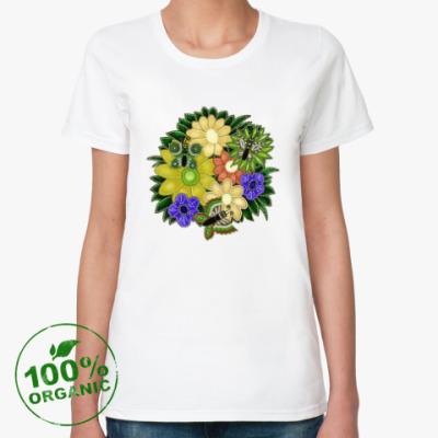 Женская футболка из органик-хлопка Бабочки, цветочки