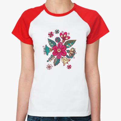 Женская футболка реглан Цветы