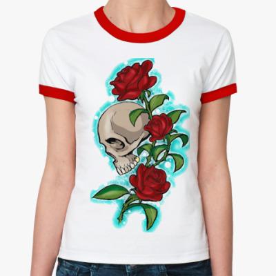 Женская футболка Ringer-T череп и розы