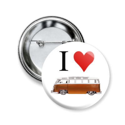 Значок 50мм I Love Bus