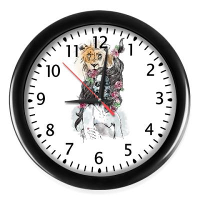 Настенные часы Девушка-Лев-Череп