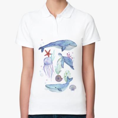 Женская рубашка поло Акварельный подводный мир