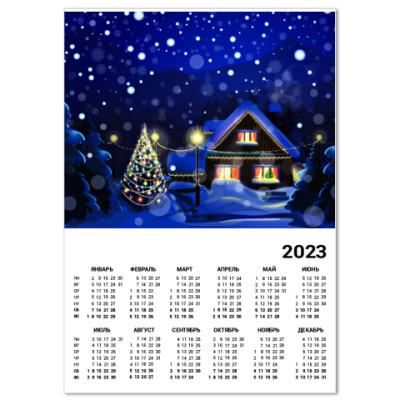 Календарь Новый год домик в лесу