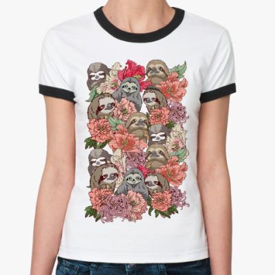 Женская футболка Ringer-T Ленивцы в цветах