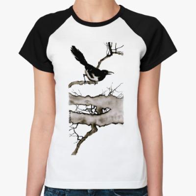 Женская футболка реглан  Ворона