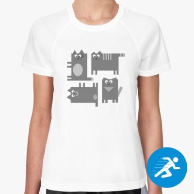 Женская спортивная футболка Коты
